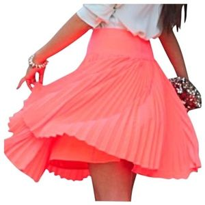 Express Neon Coral Pleated Mini Skirt